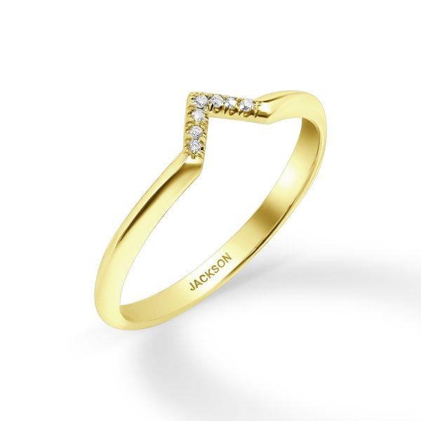 טבעת יהלומים - גדות - זהב צהוב