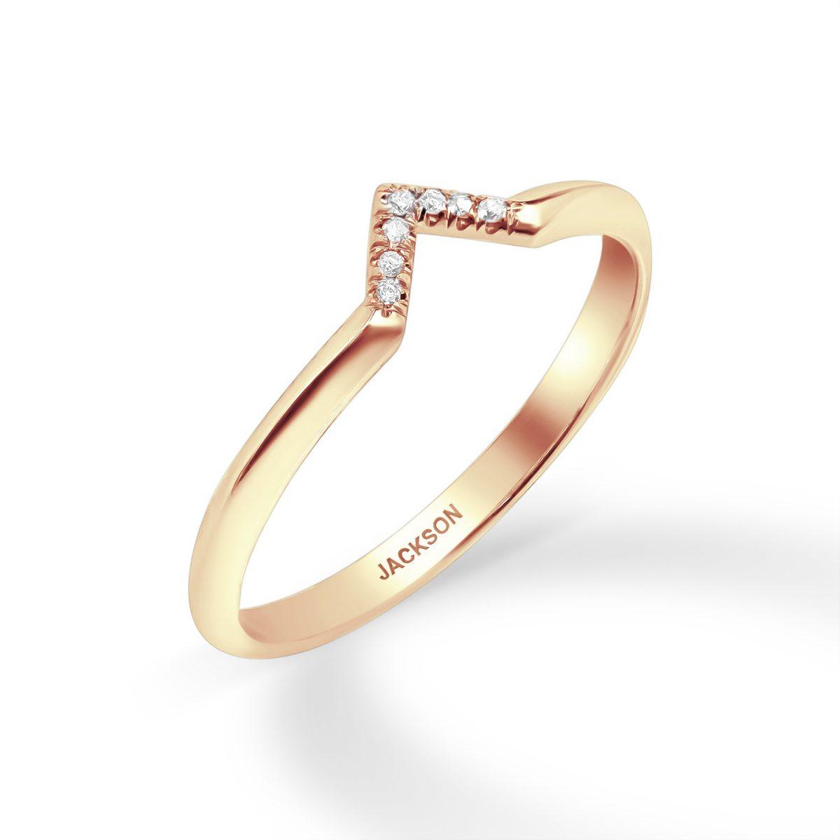 טבעת יהלומים - גדות - זהב אדום