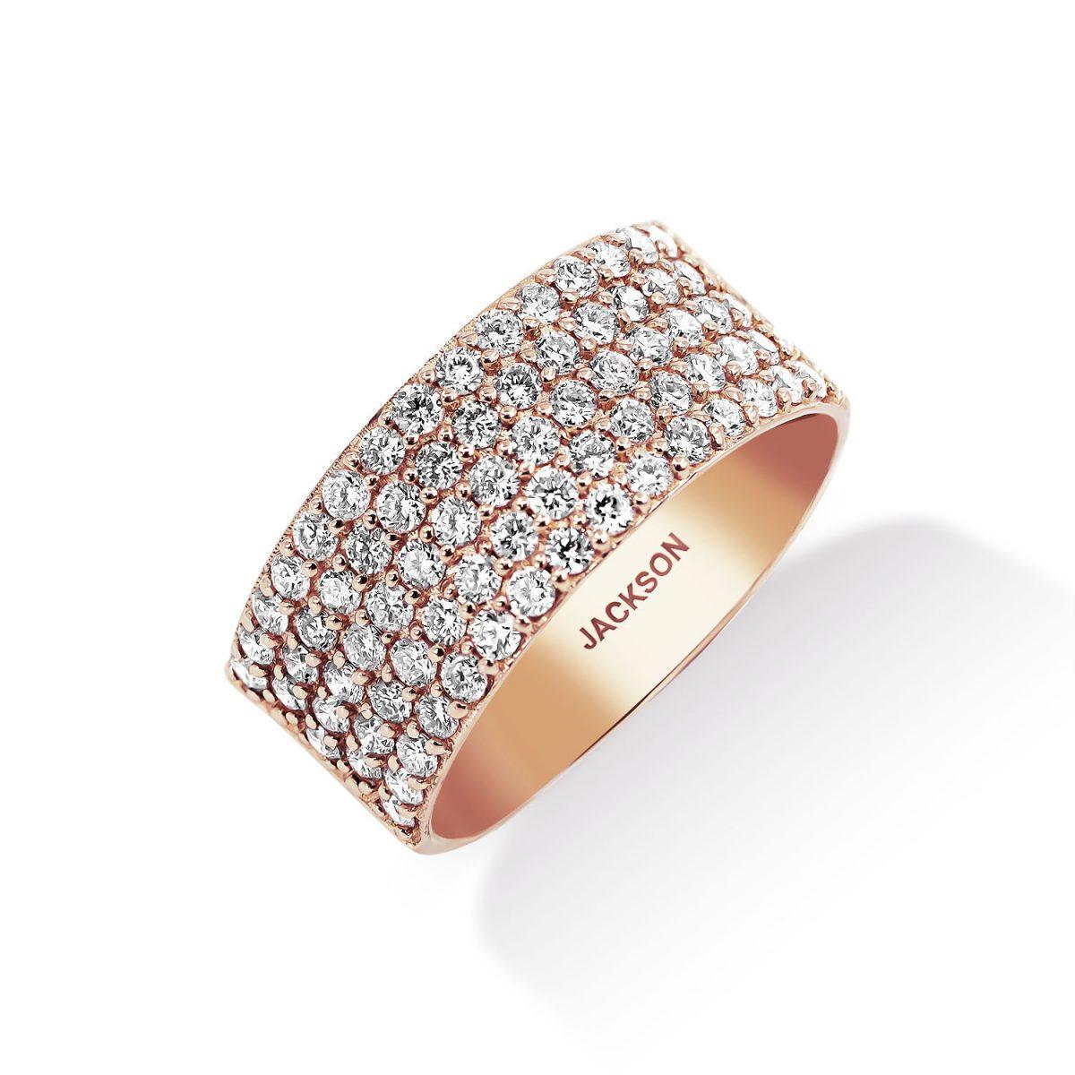 טבעת יהלומים - הלנה - זהב אדום