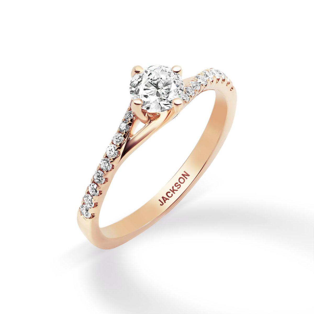 טבעת אירוסין - אלמוג - זהב אדום