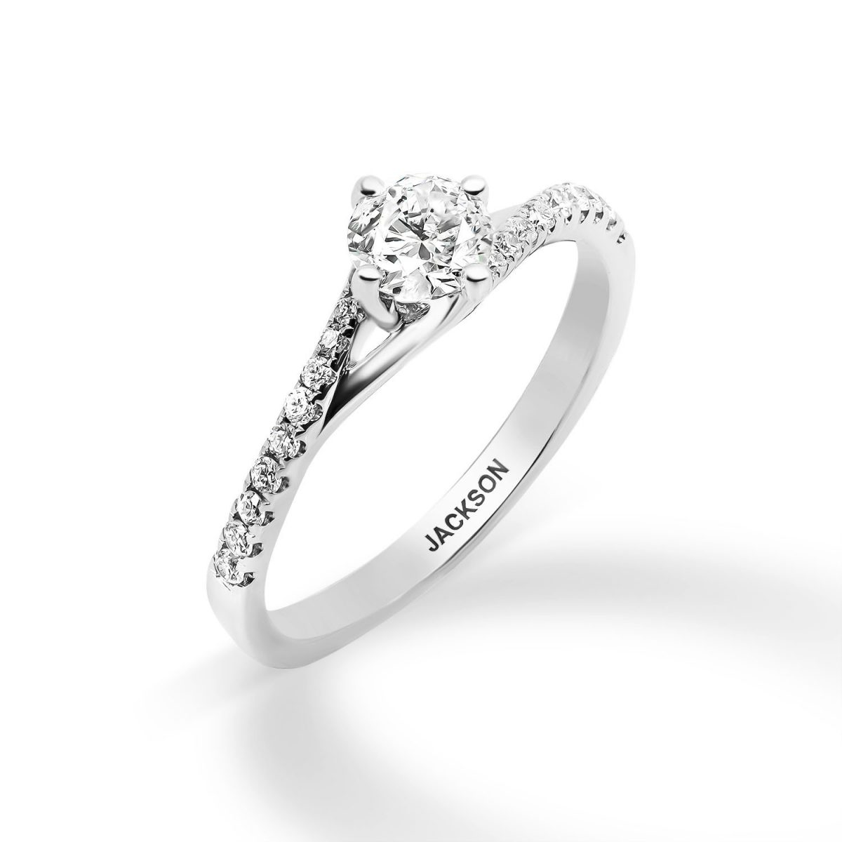 טבעת אירוסין - אלמוג - זהב לבן