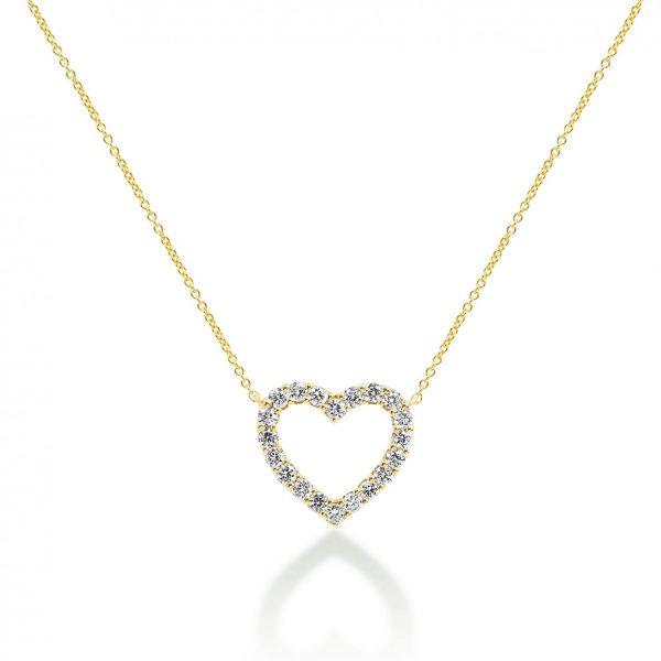 תליון יהלומים - לב מושלם זהב צהוב