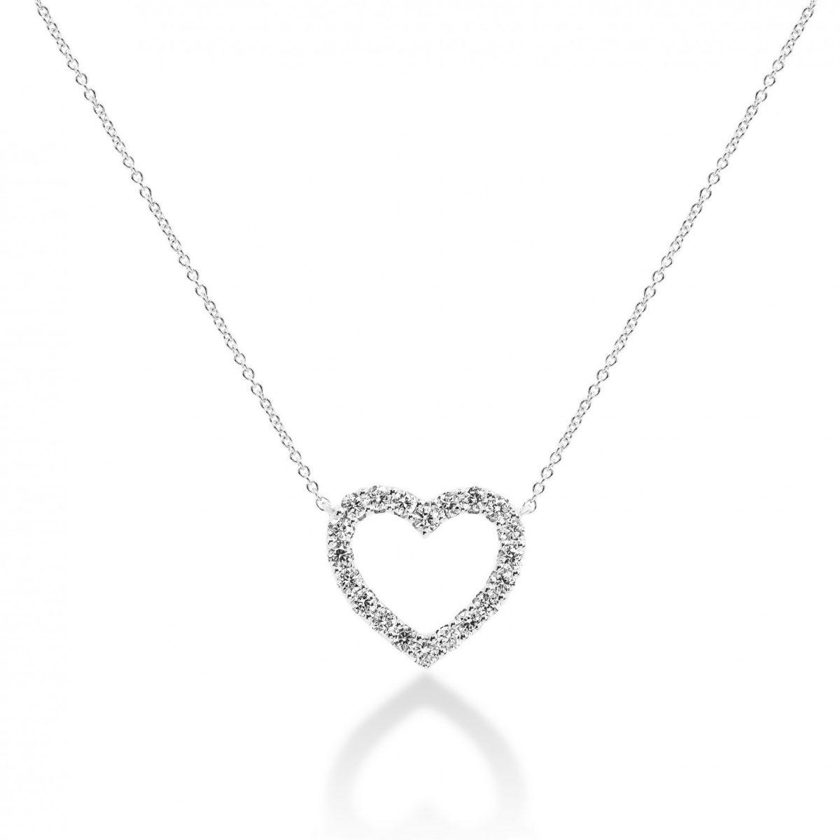 תליון יהלומים - לב מושלם זהב לבן