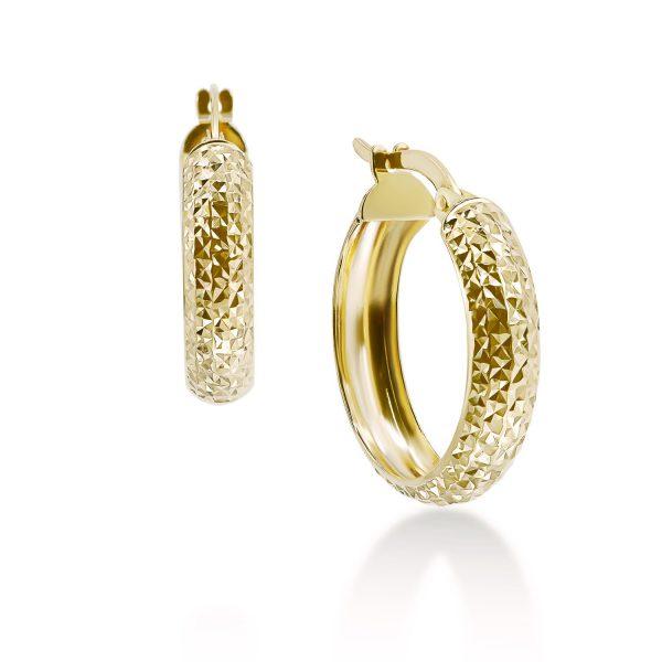 עגילי זהב חישוק - לינוי - זהב צהוב