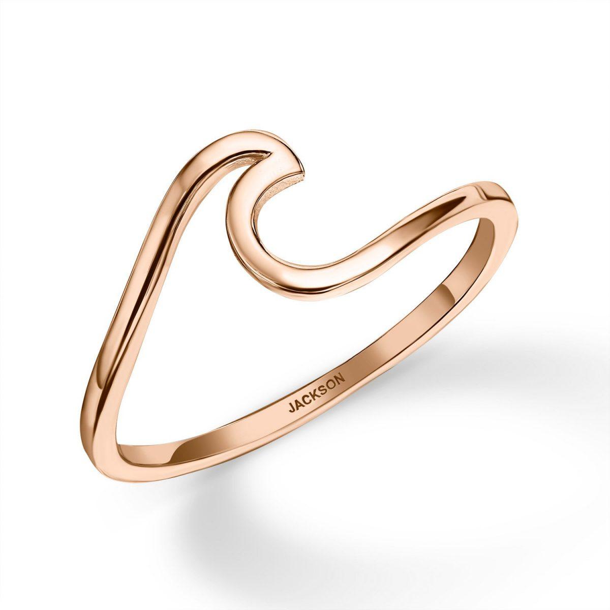 טבעת זהב - גל - זהב אדום