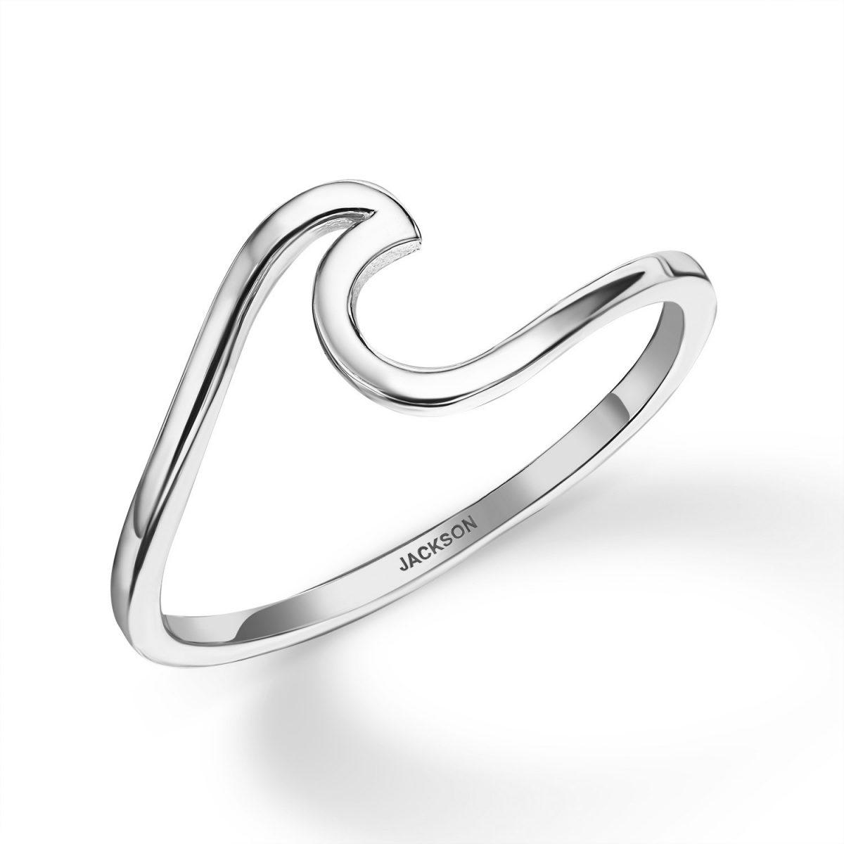 טבעת זהב - גל - זהב לבן