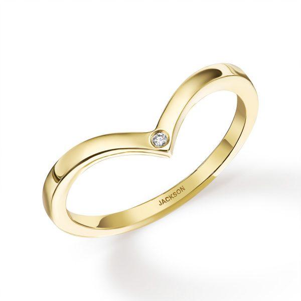 טבעת זהב - וי עם יהלום - זהב צהוב