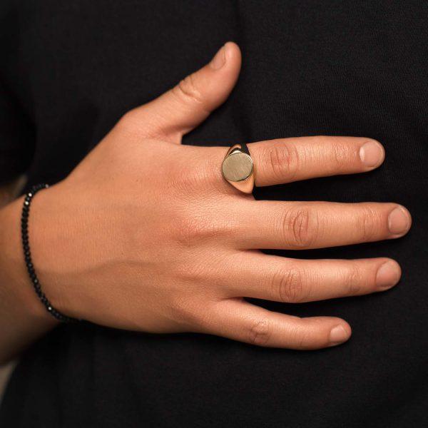 טבעת זהב חותם - סהר