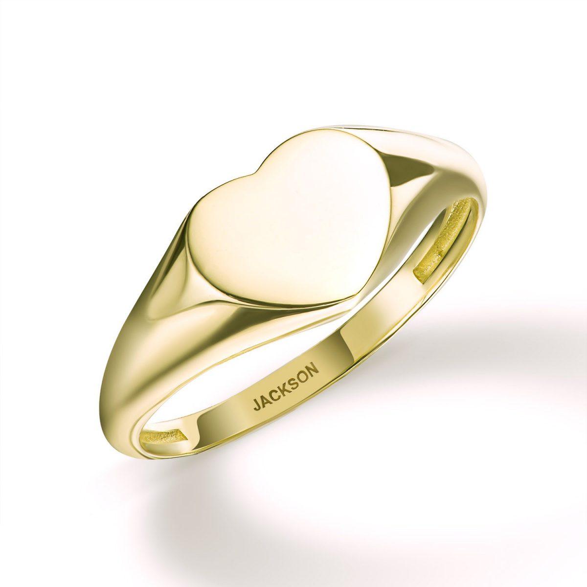 טבעת זהב - לב מושלם - זהב צהוב