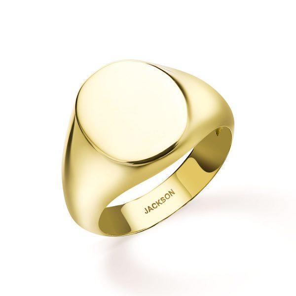 טבעת חותם - סהר - זהב צהוב