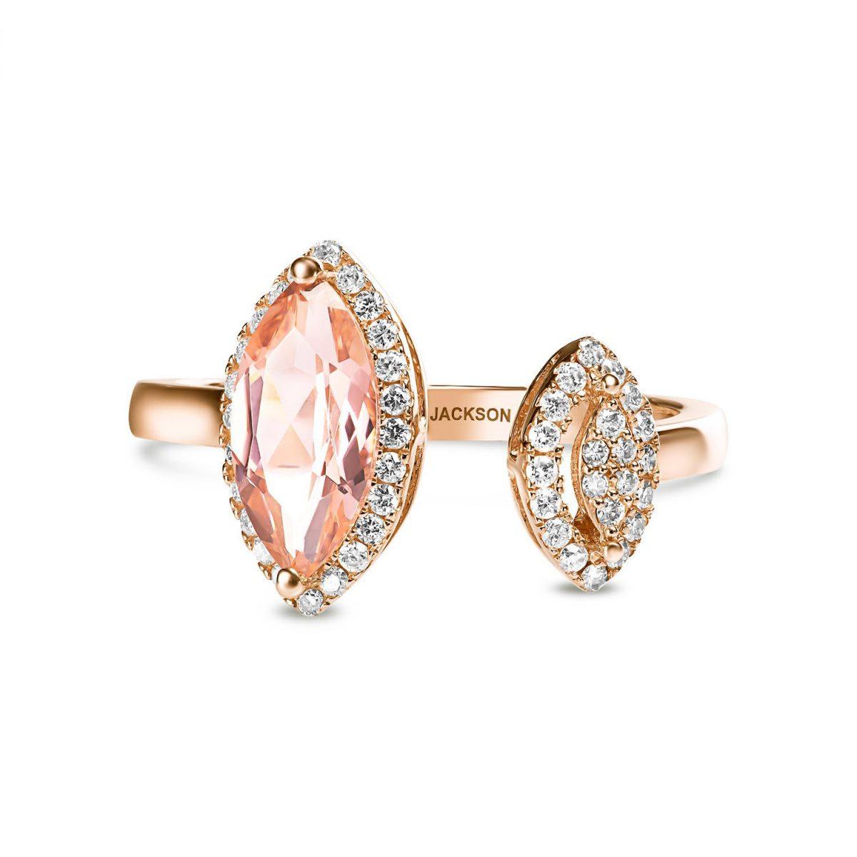טבעת יהלומים קרולין - זהב אדום