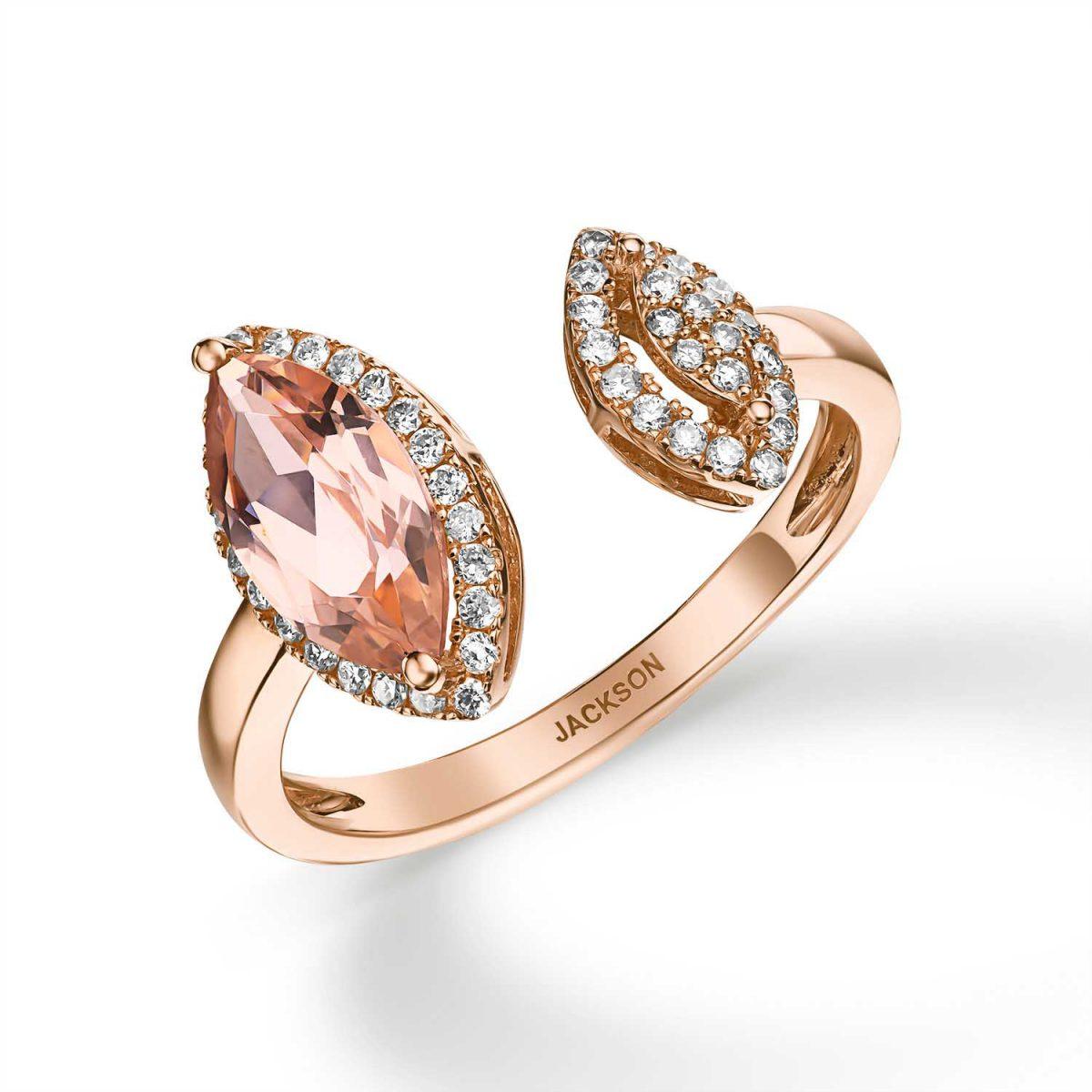 טבעת יהלומים - קרולין - זהב אדום
