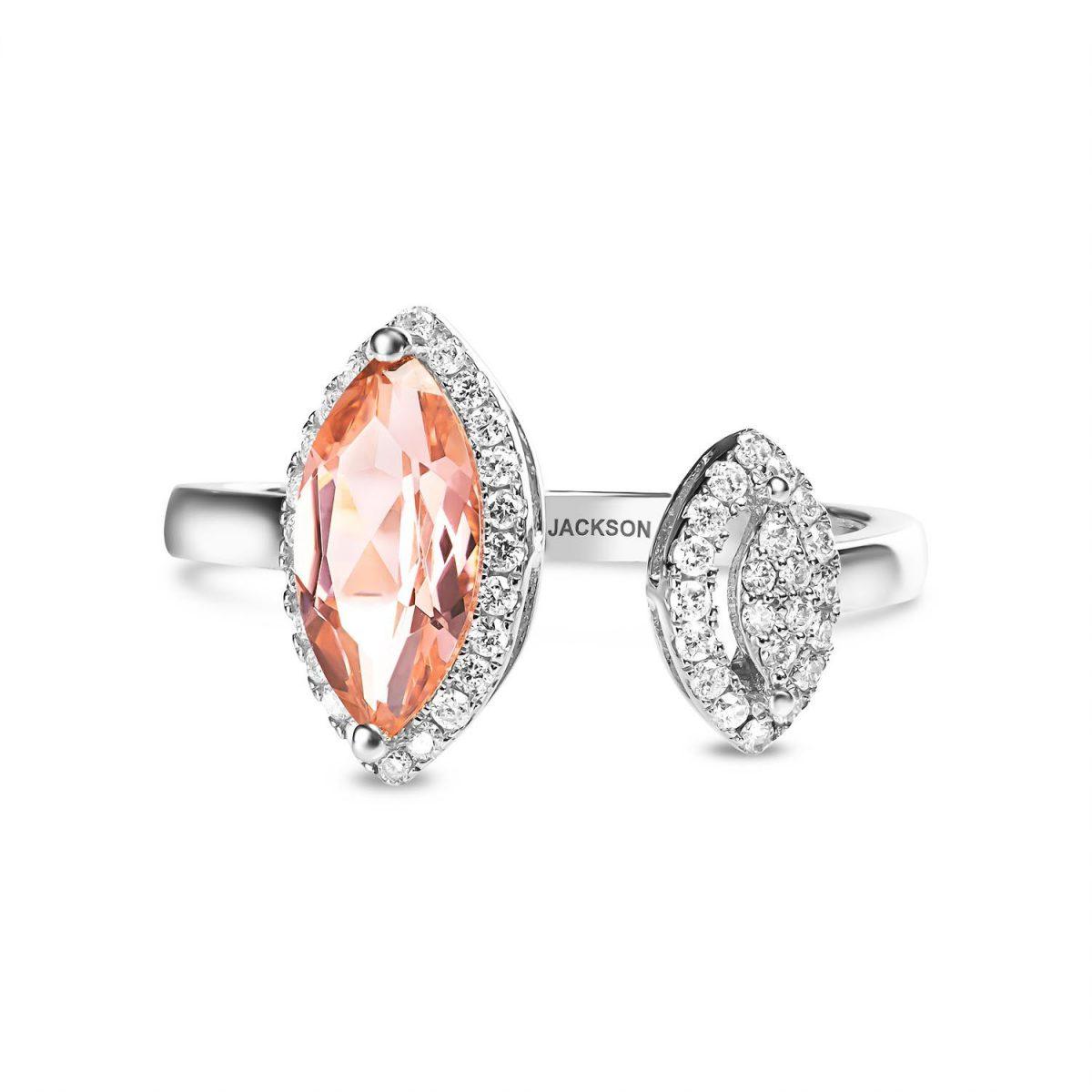 טבעת יהלומים קרולין - זהב לבן