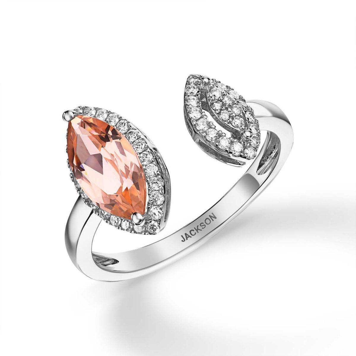 טבעת יהלומים - קרולין - זהב לבן