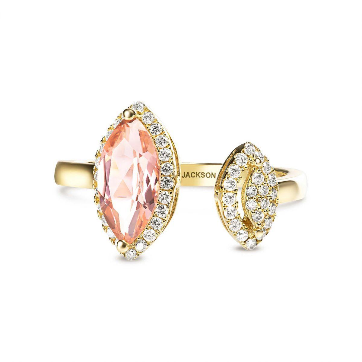 טבעת יהלומים קרולין - זהב צהוב