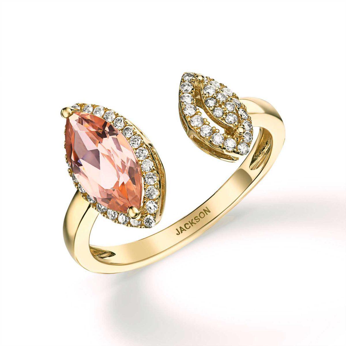 טבעת יהלומים - קרולין - זהב צהוב