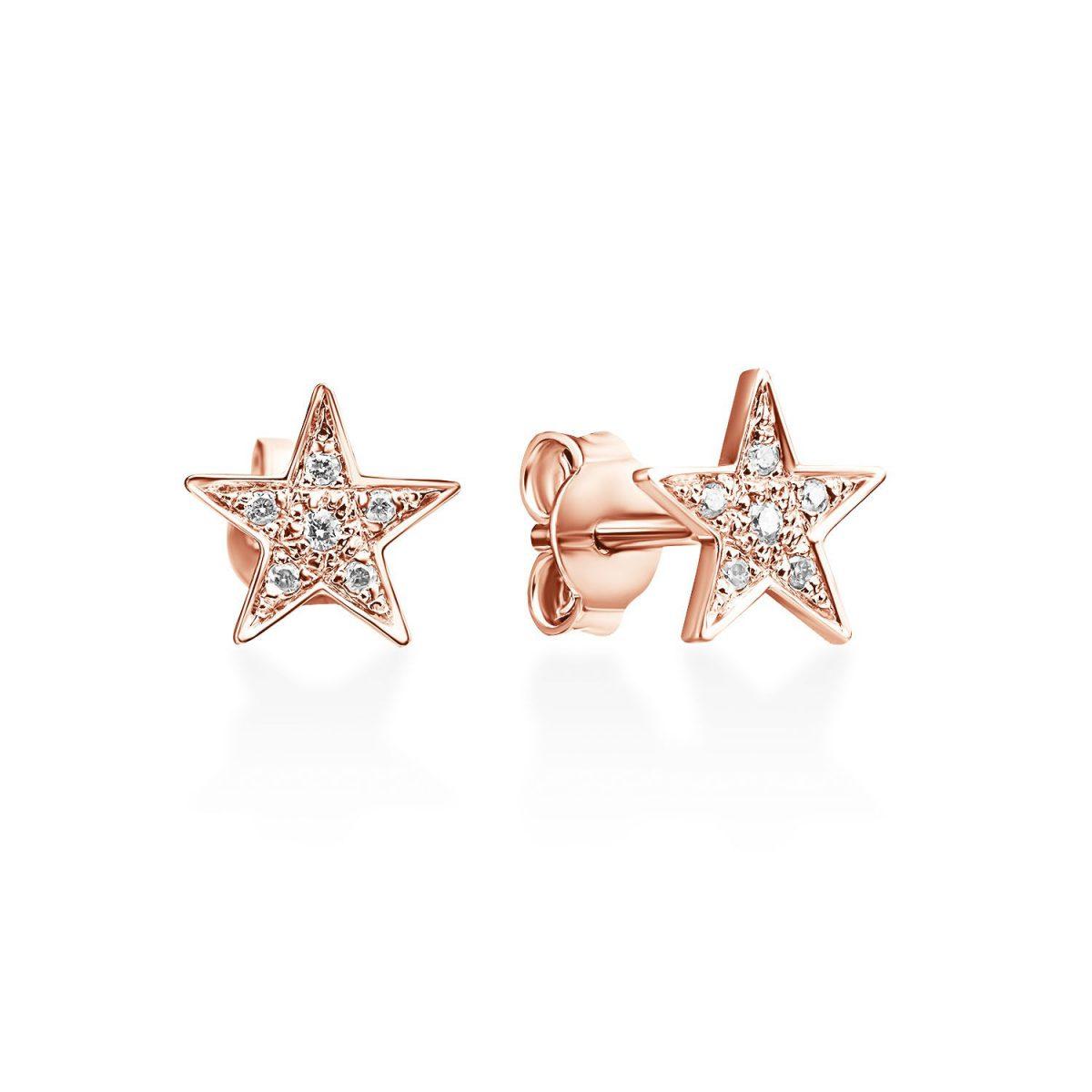 עגילי יהלום - כוכב נוצץ - זהב אדום