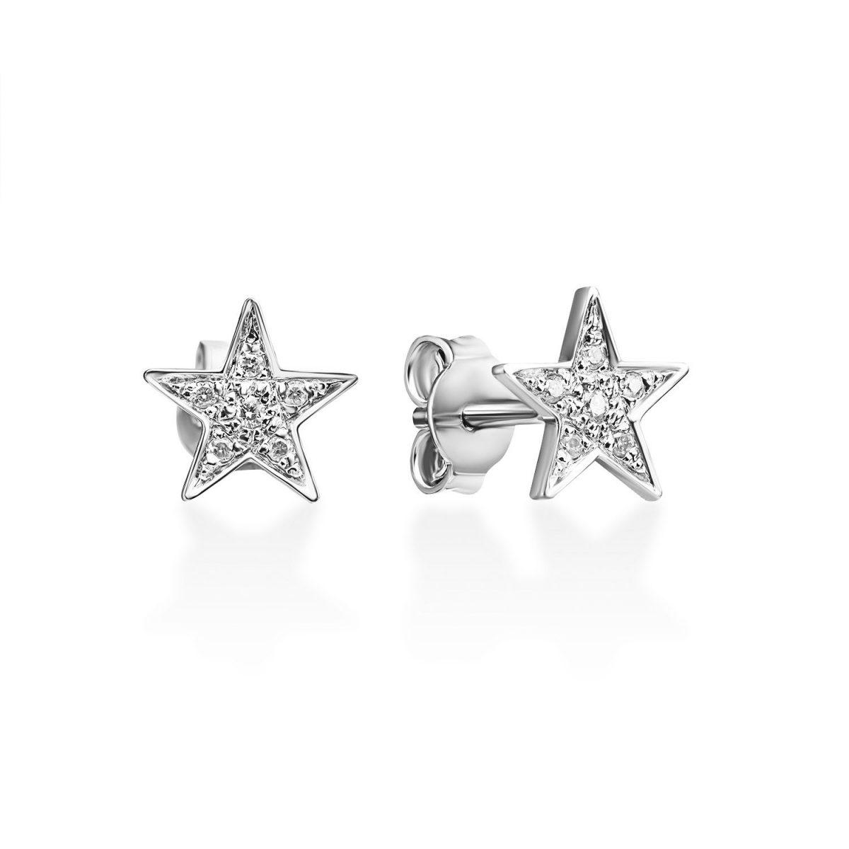 עגילי יהלום - כוכב נוצץ - זהב לבן