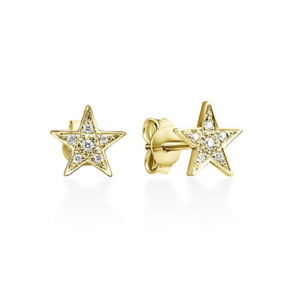 עגילי יהלום - כוכב נוצץ - זהב צהוב
