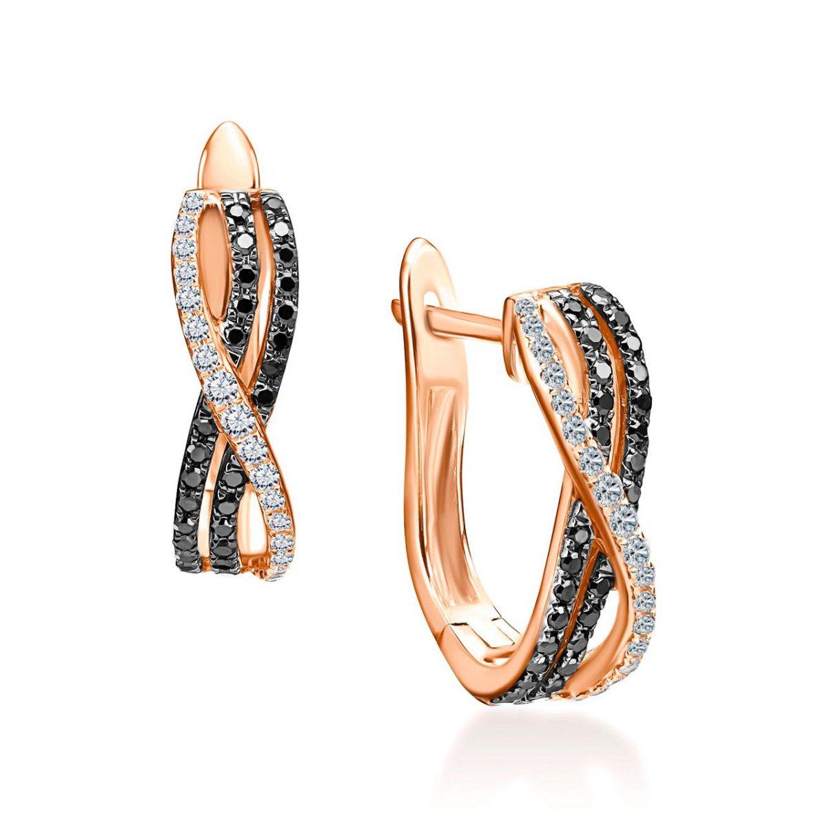 עגילי יהלומים - בל - זהב אדום