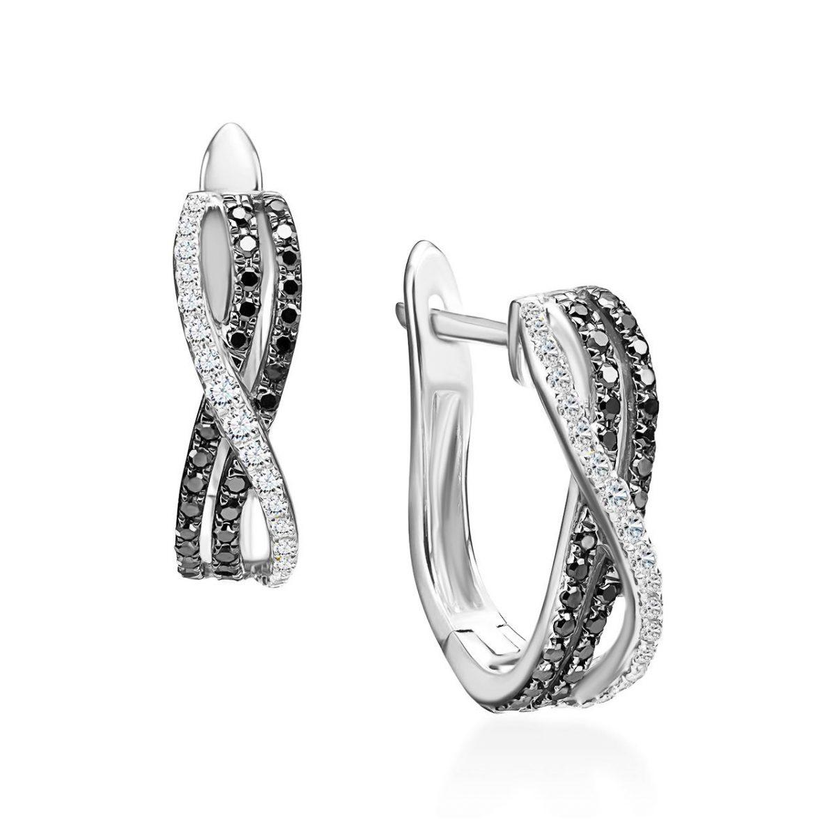 עגילי יהלומים - בל - זהב לבן