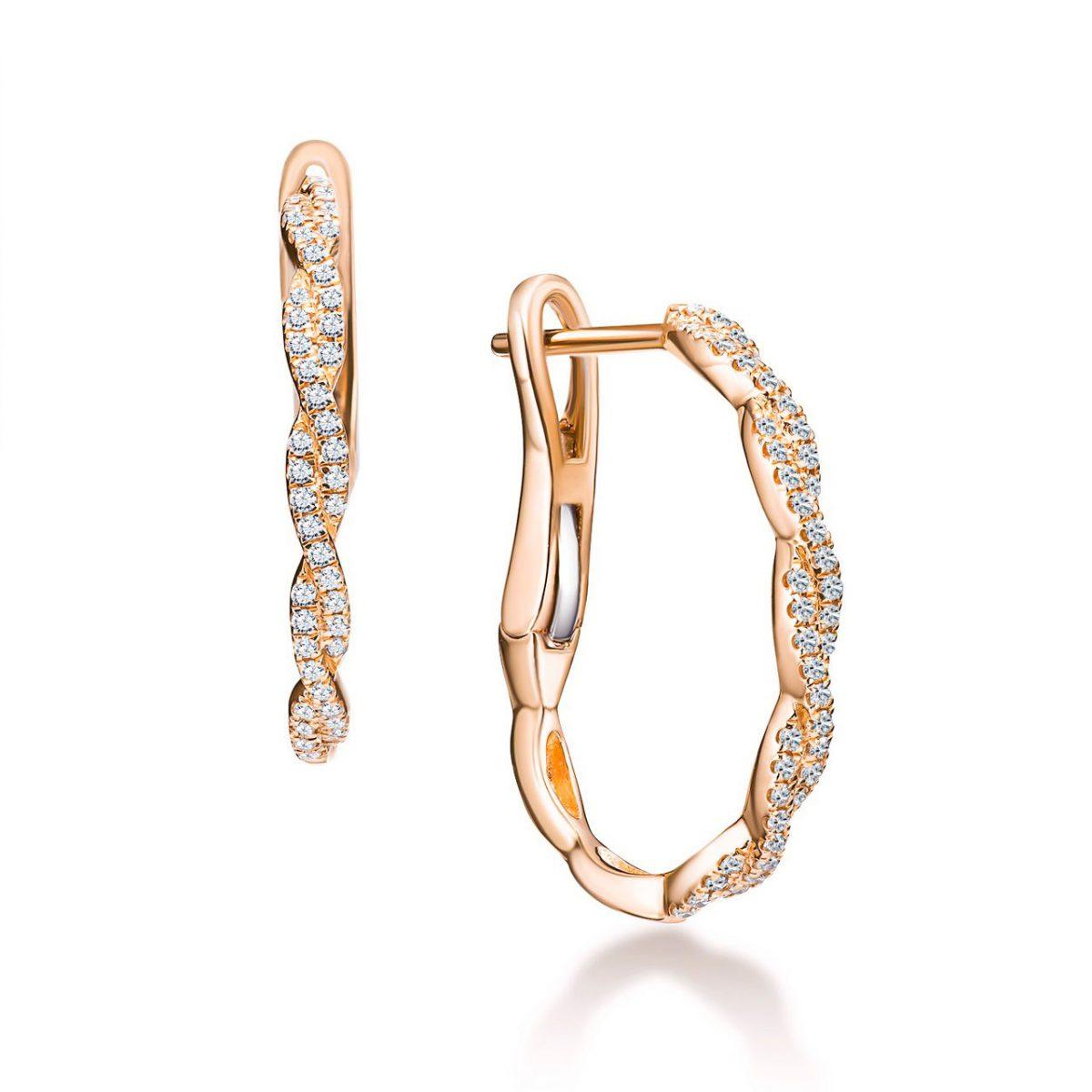 עגילי יהלומים - ויקטוריה - זהב אדום