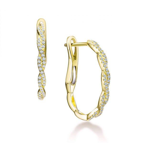 עגילי יהלומים - ויקטוריה - זהב צהוב