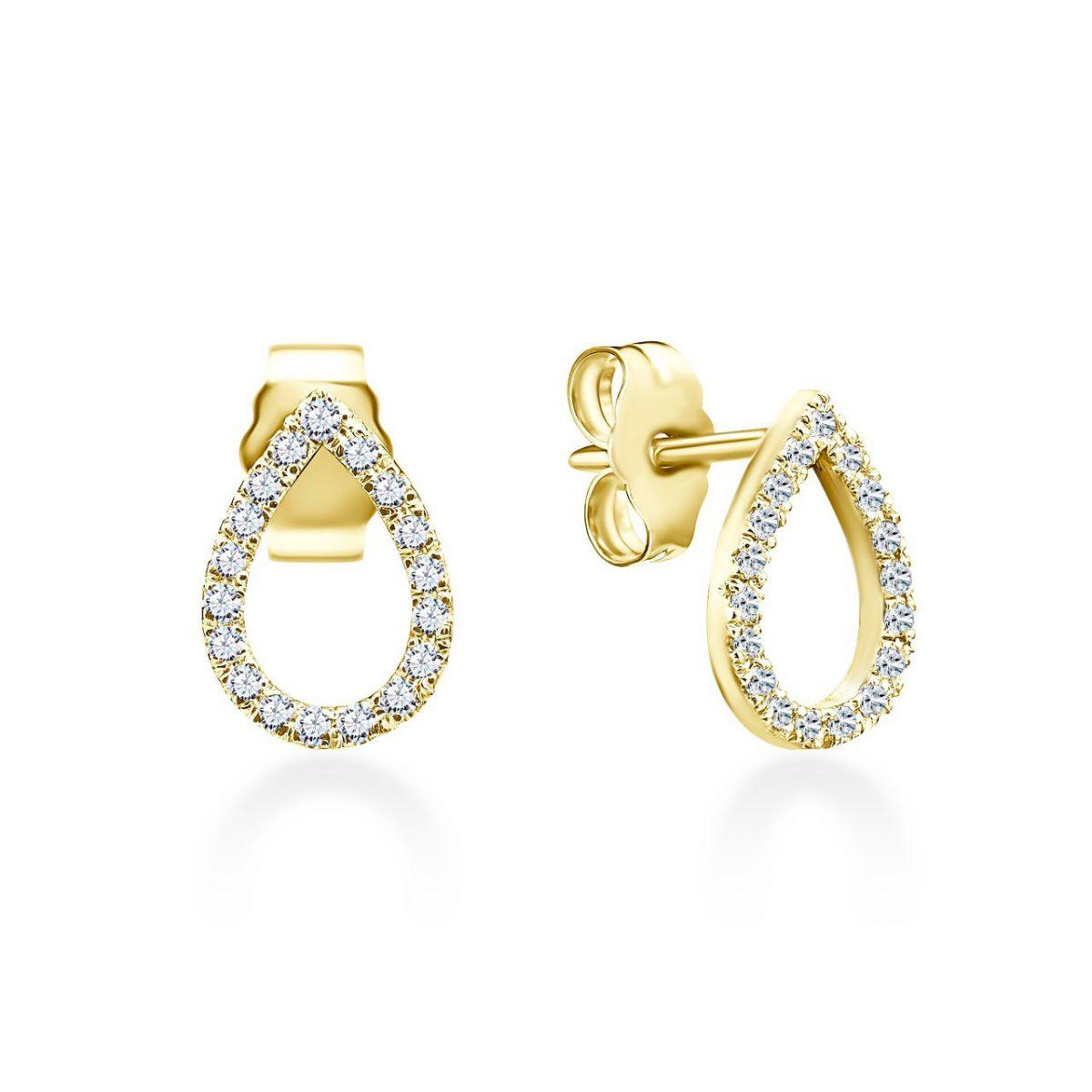 עגילי יהלומים - טיפה - זהב זהוב