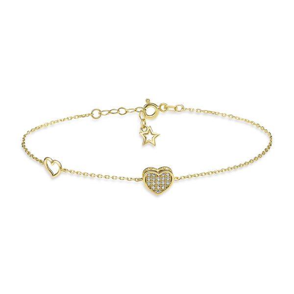 צמיד זהב - תליון לב משובץ - זהב צהוב
