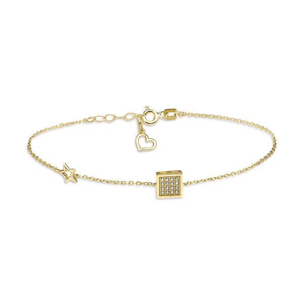 צמיד זהב - תליון ריבוע משובץ - זהב צהוב