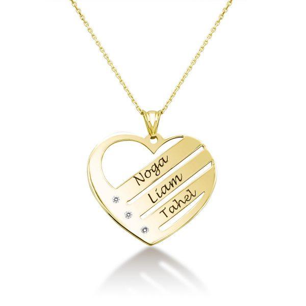 שרשרת זהב לב - חריטה 3 שמות+יהלומים - זהב צהוב