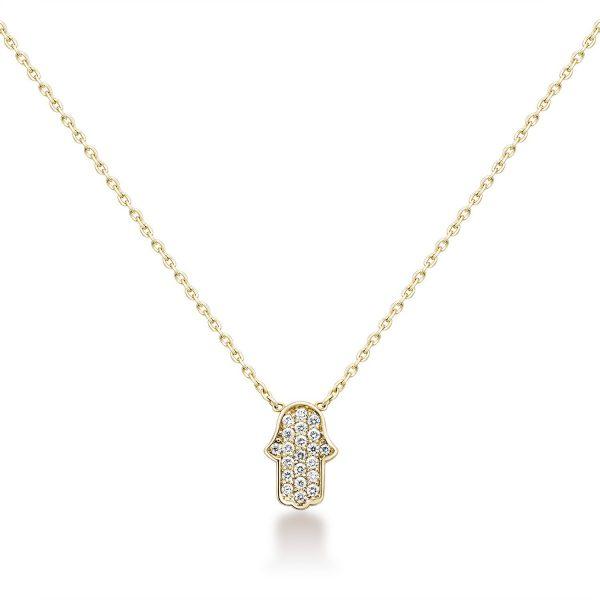 שרשרת יהלומים - חמסה - זהב צהוב