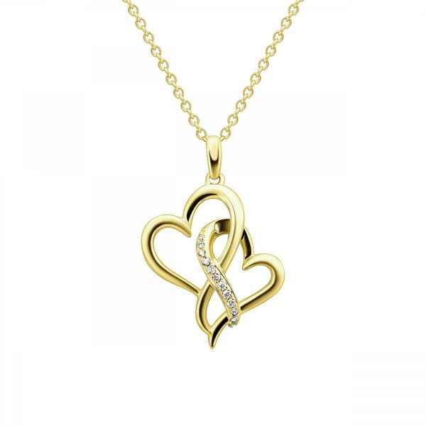 שרשרת יהלומים - לבבות משולבים - זהב צהוב